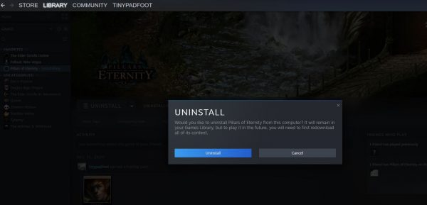 uninstall from Steam library