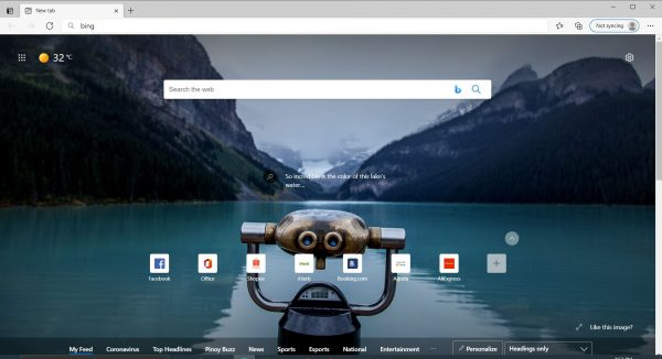 Microsoft edge start page