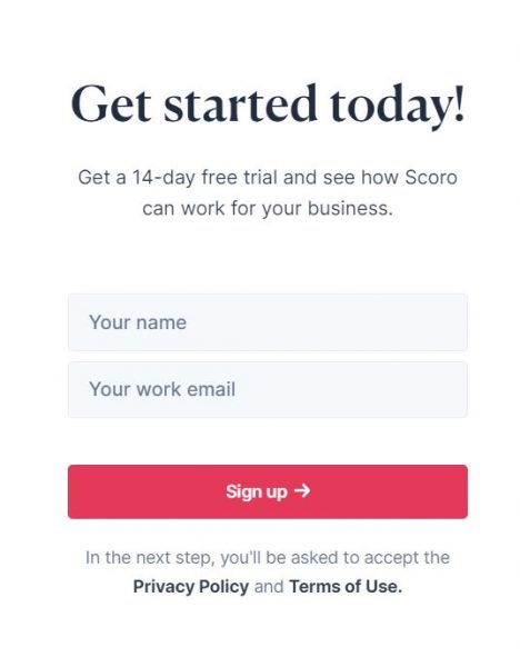 Sign Up Scoro