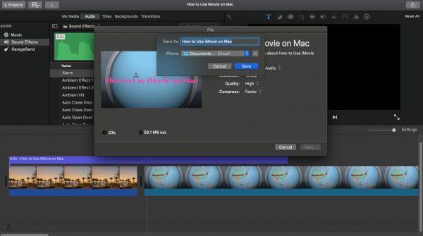 saving your imovie video