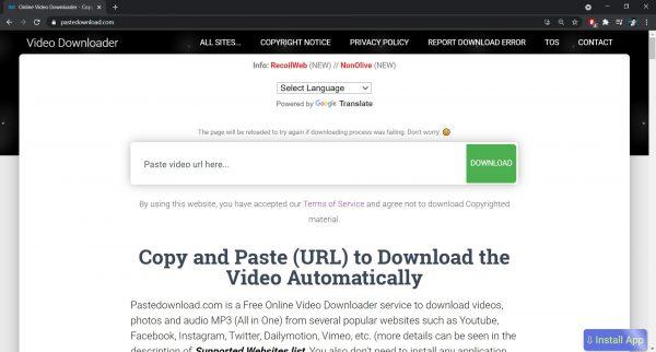 Paste Download website