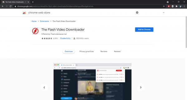 The Flash Video Downloader Chrome extension
