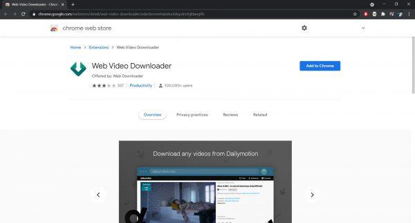 Web Video Downloader Chrome extension
