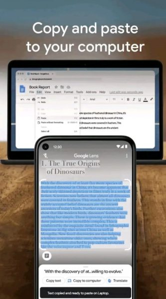 Copy scanned text to your computer using the Lens app