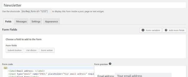 how to use mailchimp API forms