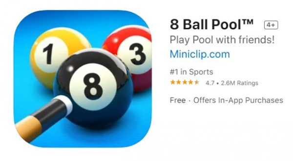 iMessage game 8 Ball Pool.