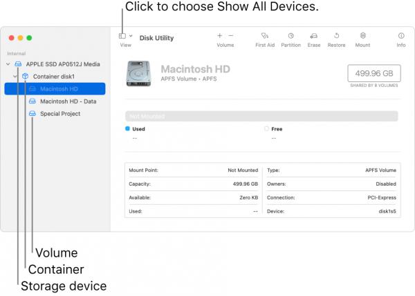 Disk Utility apfs vs macos extended
