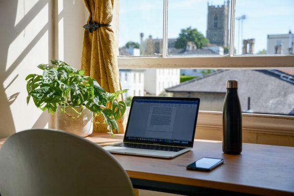 A home office set up.