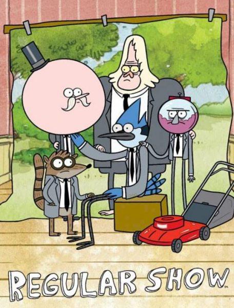 Cartoon Regular Show title banner.