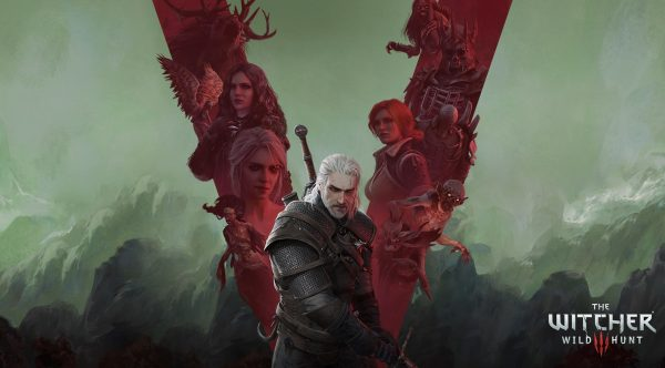 Wallpaper for The Witcher Wild Hunt showing Geralt with a background of various characters from the game with a green misty backdrop