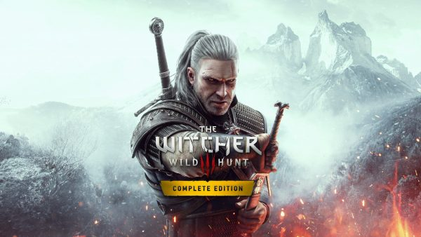 The Witcher Wild Hunt Complete Edition wallpaper featuring Geralt gripping a sword with a white mountainous backdrop