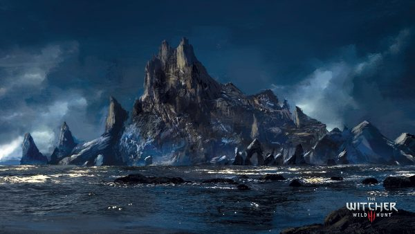 Dark blue mountainous landscape surrounded by a sea – location in The Witcher Wild Hunt