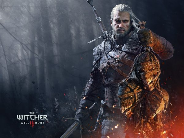 Geralt from The Witcher Wild Hunt holding three decapitated heads of monsters